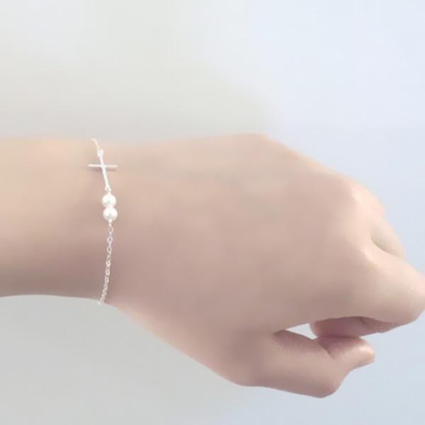 Fashion Simple Alloy Chain Classic Cross Imitation Pearl BRACELET