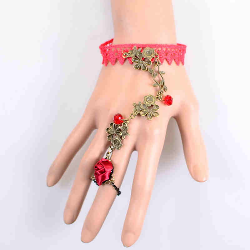 Fashion Royal Original Vintage Red Lace Bracelet Bride JEWELRY