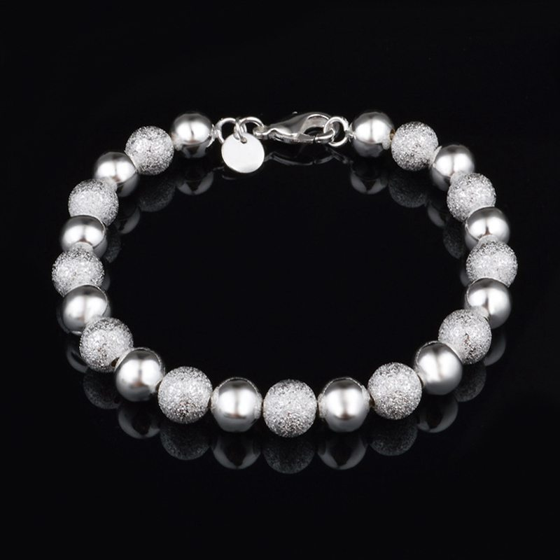 Fashion JEWELRY Classic Style 925 Silver Frosted Round Beads Bracelet