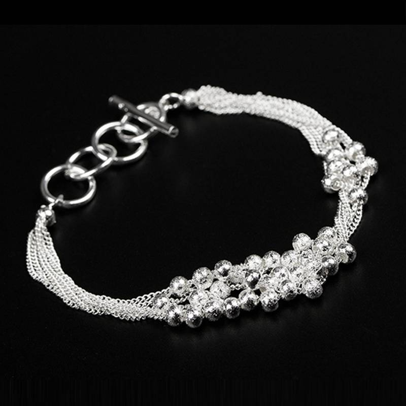 Fashion JEWELRY Classic Style 925 Silver Multilayer Chain Round Ball Bracelet