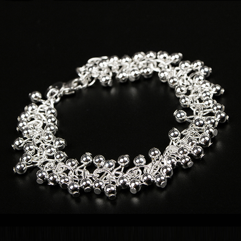 Fashion JEWELRY Classic Style 925 Silver Chain Round Ball Bracelet