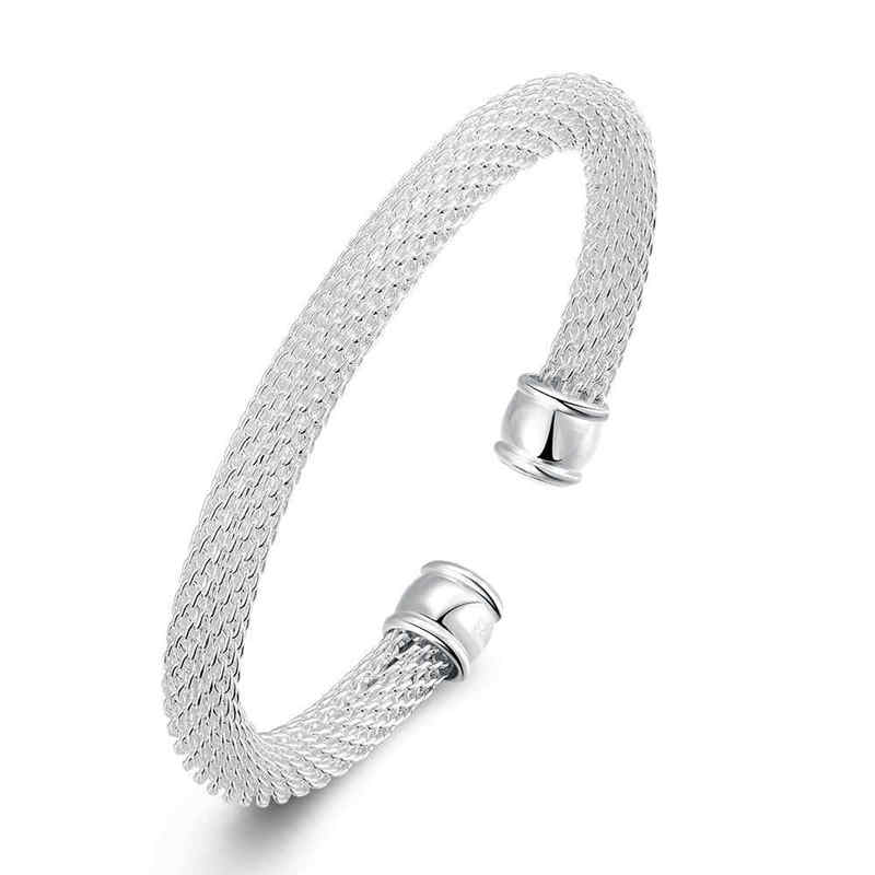 Wholesale Fashion JEWELRY Graceful Silver Plated Female Copper Cuff Bangle