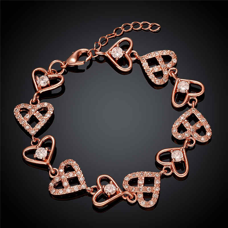Cute Girl Beautiful Engagement Crystal Love Hearts Chain BRACELET