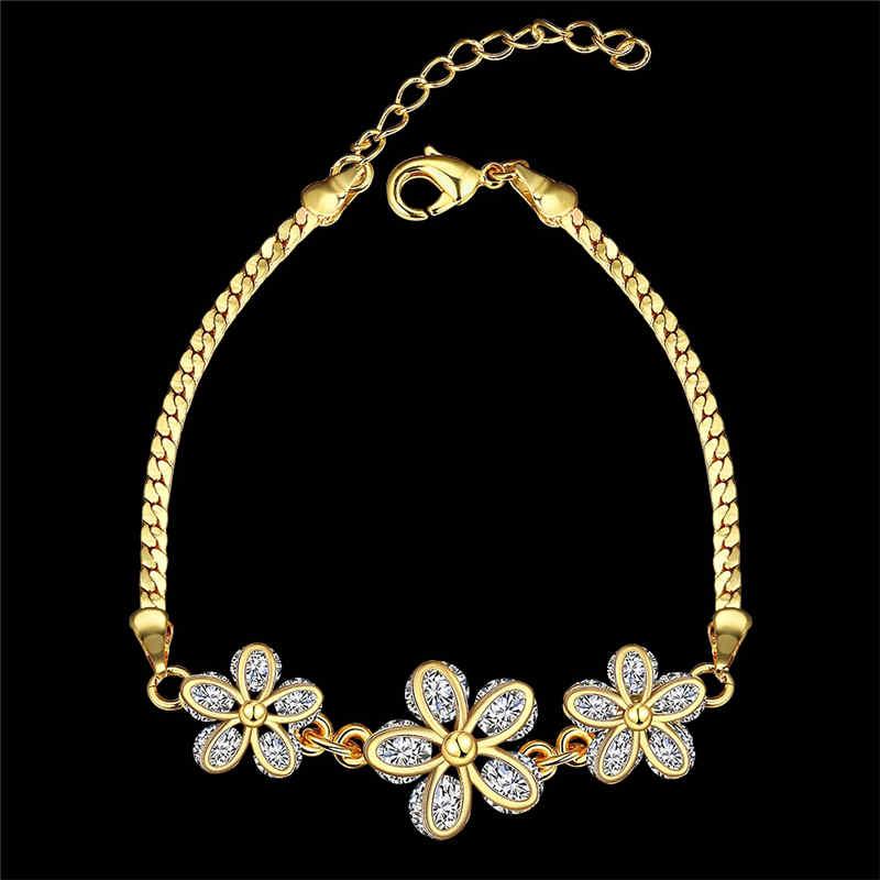 Romantic Girl Luxury Shiny Zircon Decoration Flower Gold BRACELET