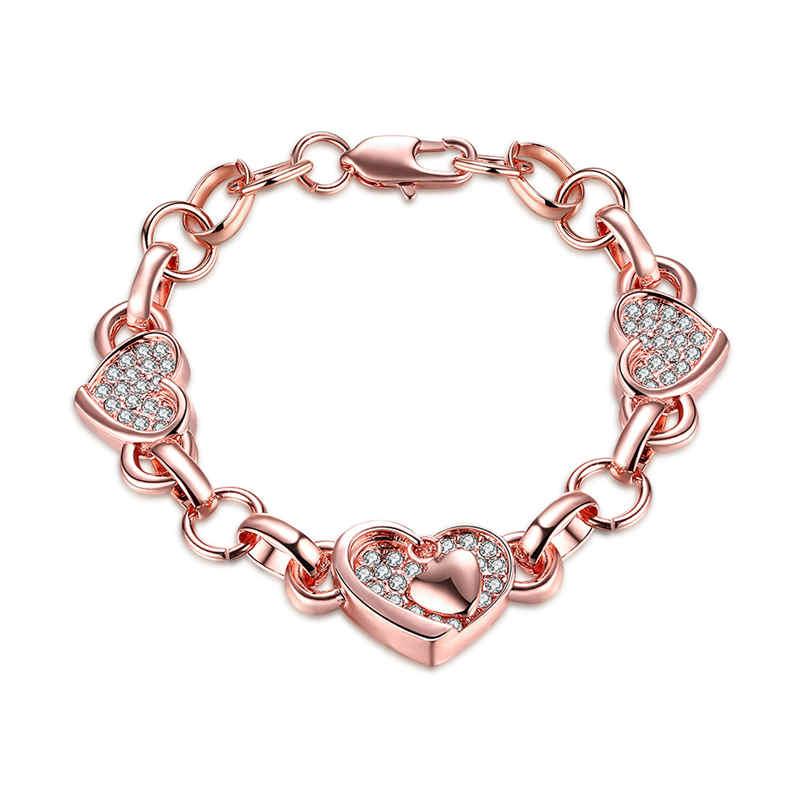 Women Classical Wide Crystal Glass Love Heart Rose Gold BRACELET