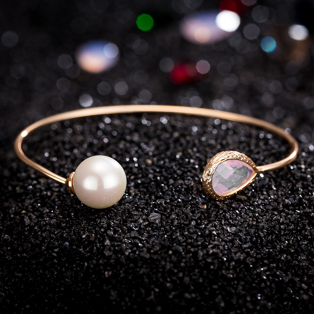 Women Luxury JEWELRY Water Drop Crystal Imitation Pearl Cuff  Bangles