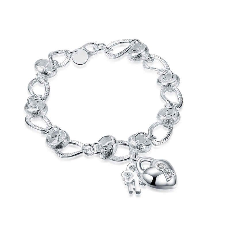 Stylish Exquisite Love Heart Lock Shape Pendant Silver Plated Copper BRACELET