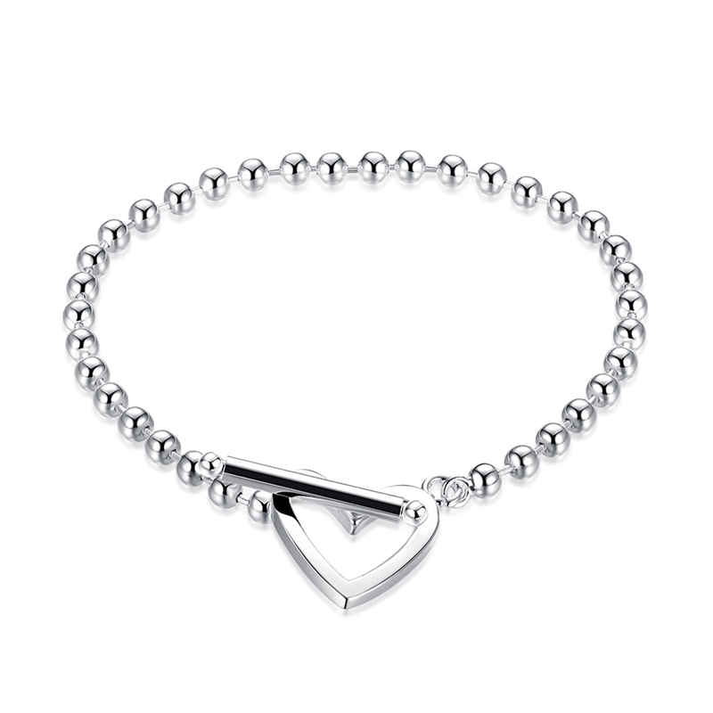 Unisxe Classical Balls Chain Hollow Heart Shape Silver Plated Copper BRACELET