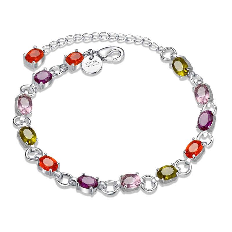 Unisex Engagement Multicolor Stones Chain Silver Plated Copper BRACELET