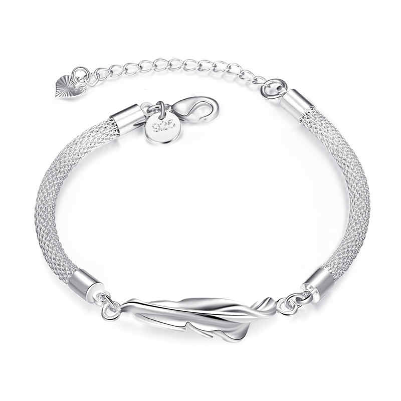 Lady Graceful Feather Shape Chain Silver Plated Copper BRACELET