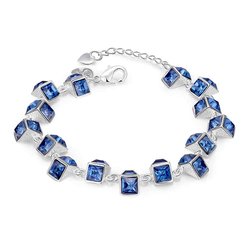 Girl Romantic Blue Resin Greometric Chains Silver Plated Copper BRACELET