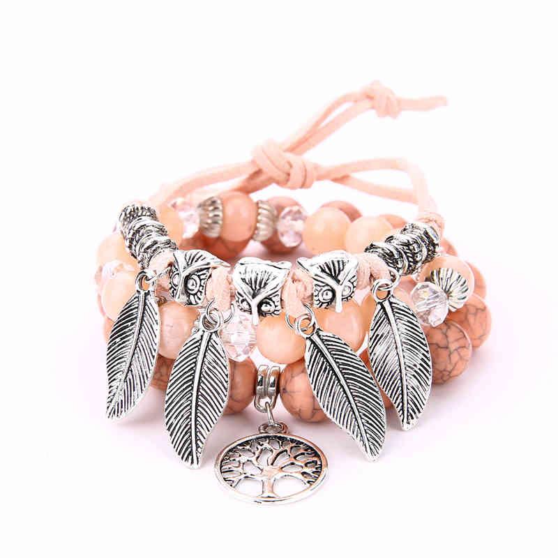 Vintage Leaves Life Tree Alloy Pendant CANDY Color Multilayer Lady Bracelet