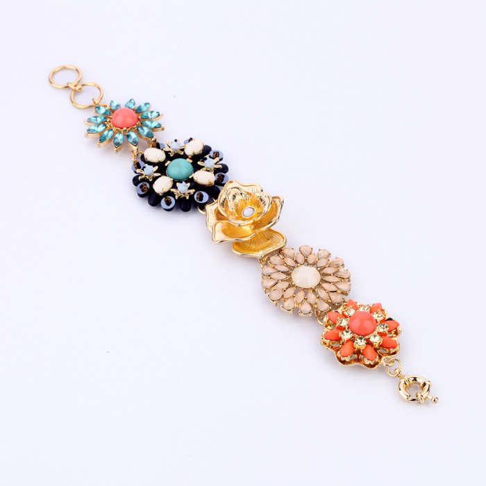Lady Fashion Attractive Multicolor Flower Shape Decoration Alloy BRACELET