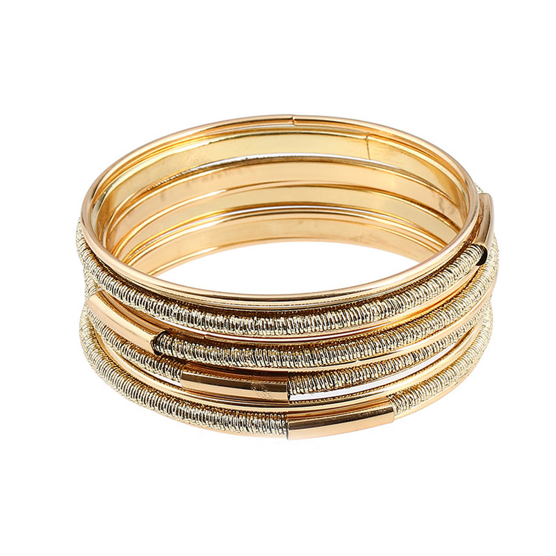 Lady Luxury Fashion Multilayer Gold Plated Wide BANGLEs Jewelry set