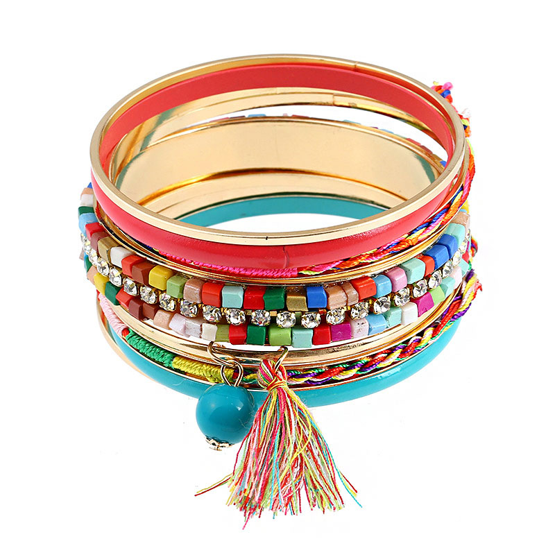 Women Unique Color Glass Beads Decoration Tassel Multilayer Wide BANGLEs Jewelry Set