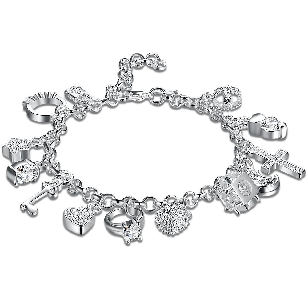 Fashion Jewelry Classic Style 925 Silver Chain Multi Pendant BRACELET