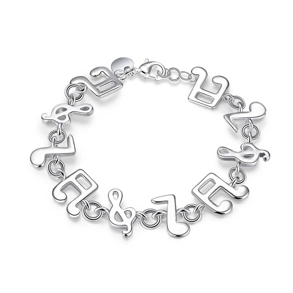Fashion Jewelry Classic Style 925 Silver Musical Notes BRACELET