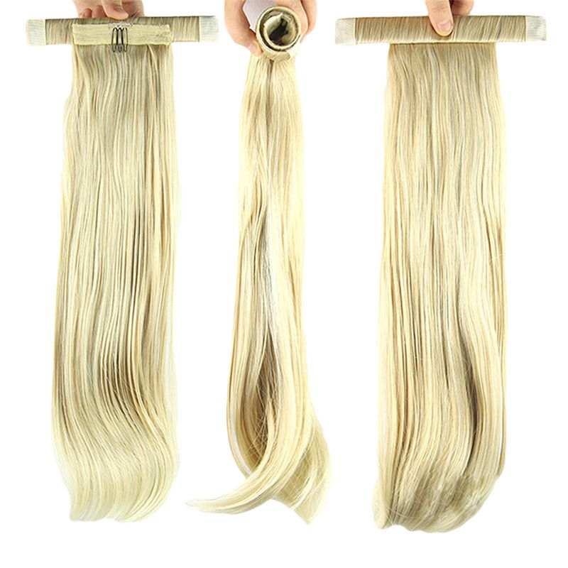 Women NEW Design Elegant Long Straight Ponytail Wigs Roll-up Hair Extensions