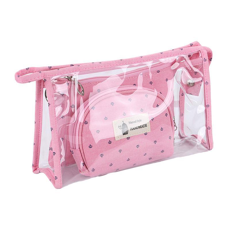 3Pcs Fashion Fresh Crowns Transparent PVC Handbags Purse COSMETIC Bags