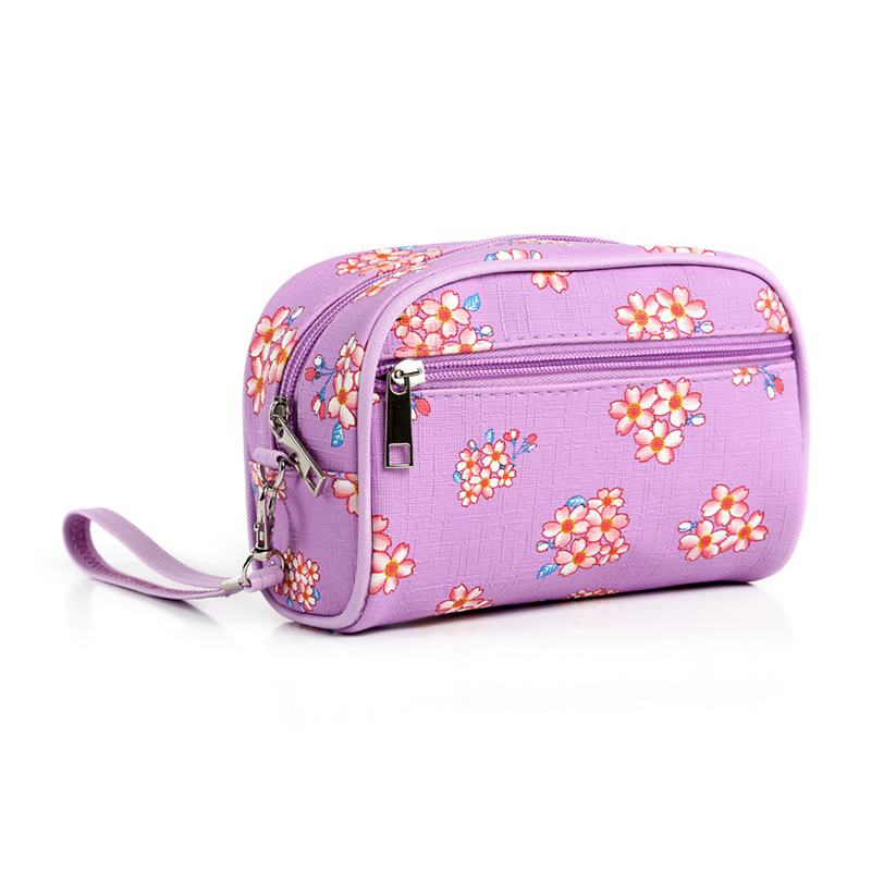 New Design Fashion Pomegranate Blossom Floral Printed Back Zipper Pocket Design COSMETIC Bags With H