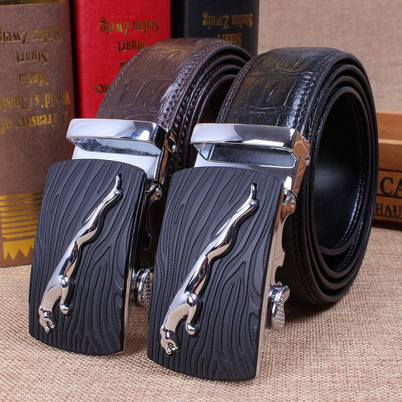 Fashion Men Classic Style Leopard Automatic Buckle Genuine LEATHER BELT