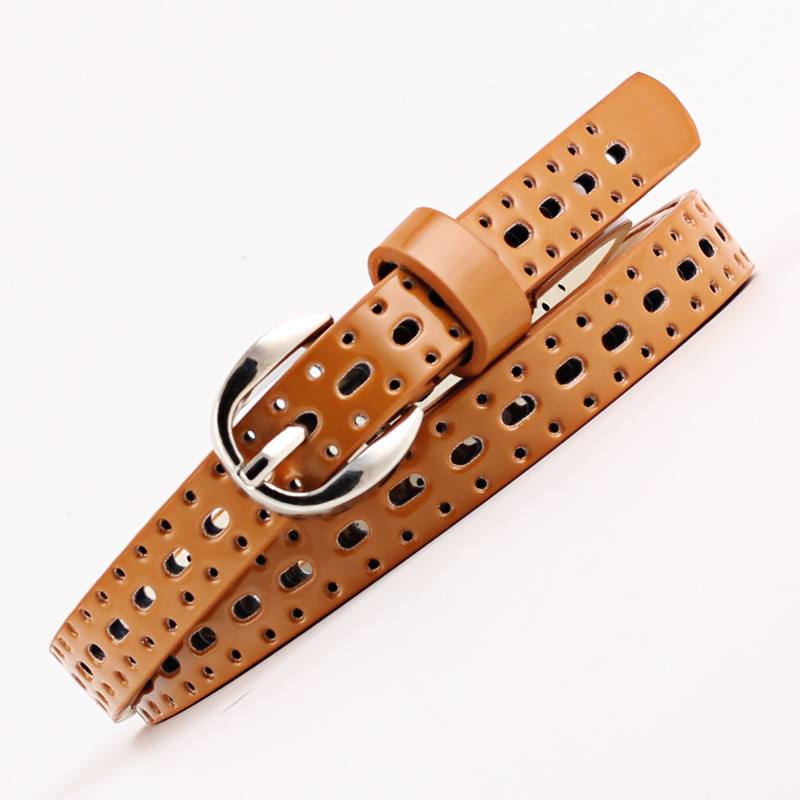 Lady Unique Hollow Pin Buckle Patent LEATHER Slim PU Belt
