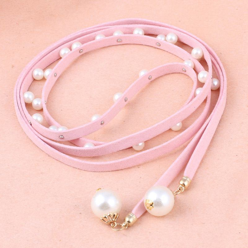Sweet Lady Party DRESS Decoration Jelly Color PU Leather Imitation Pearl Decorated Tight Belt