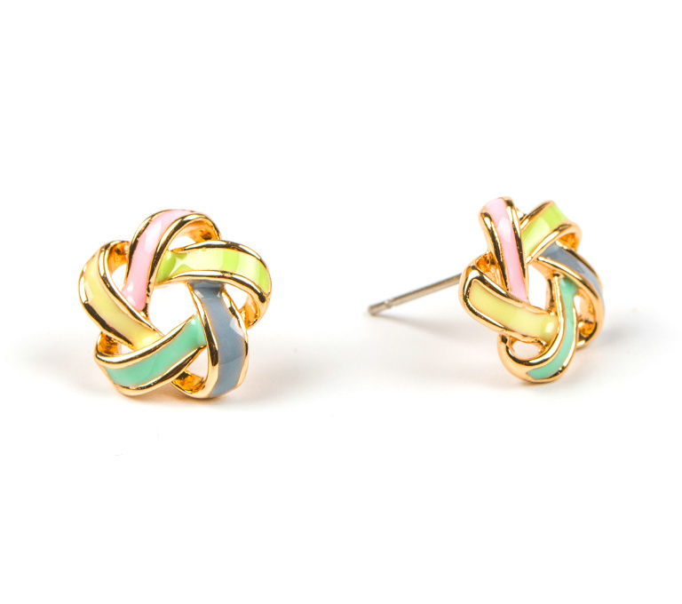 Women Fashion Hollowed Out Alloy Colorful Flower STUD EARRINGS