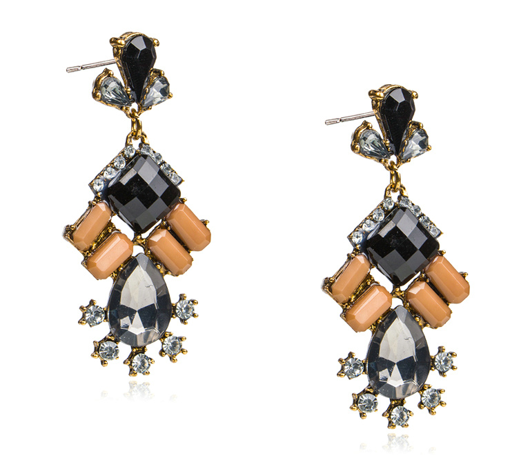 Square Acrylic DIAMOND Alloy Droplets Zircon Earrings