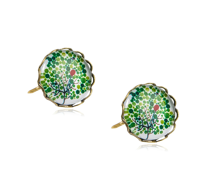 Nature Style Lovely Girl Cute Forest GLASS BEADS Stud Earrings