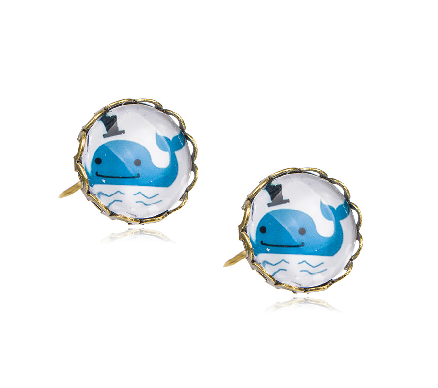 Nature Style Lovely Girl Cute Whale Glass Beads STUD EARRINGS