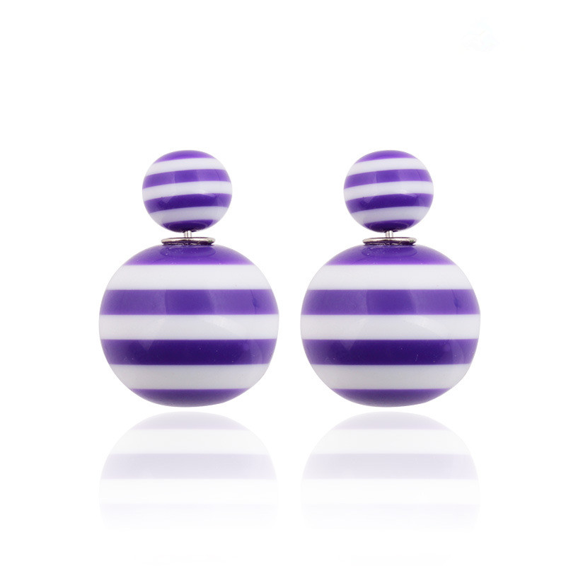 Summer CANDY Color Double Stripe Stud Earrings