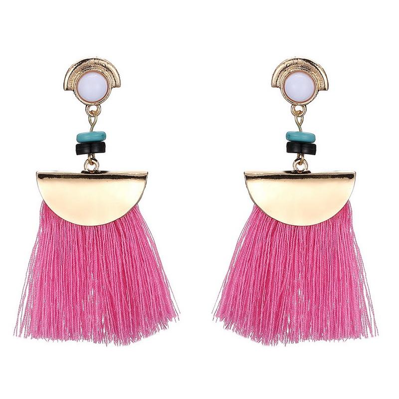 Exaggerated Bohemian Style FAN Shape Tassel Drop Earrings