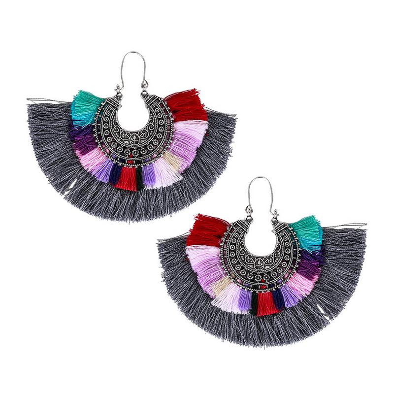 Retro Ethnic Style Exaggerated FAN Shape Multicolor Tassel Earrings