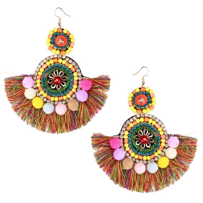 Multicolor Resin Beads FAN Shape Wool Tassel Ethnic Earrings