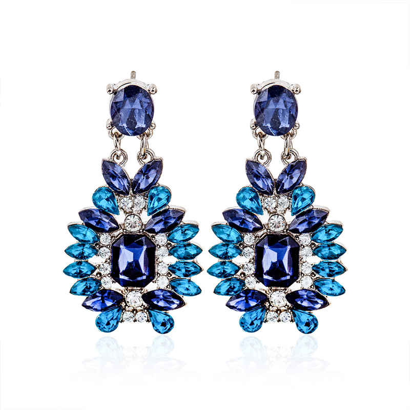 Fashion Exaggerated Inlay Little Drop Shape Glass Statement AQUAMARINE Lady Earrings