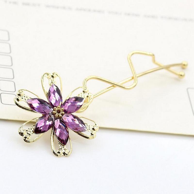 Creative Design Twisted Alloy Crystal Flower HAIR CLIP