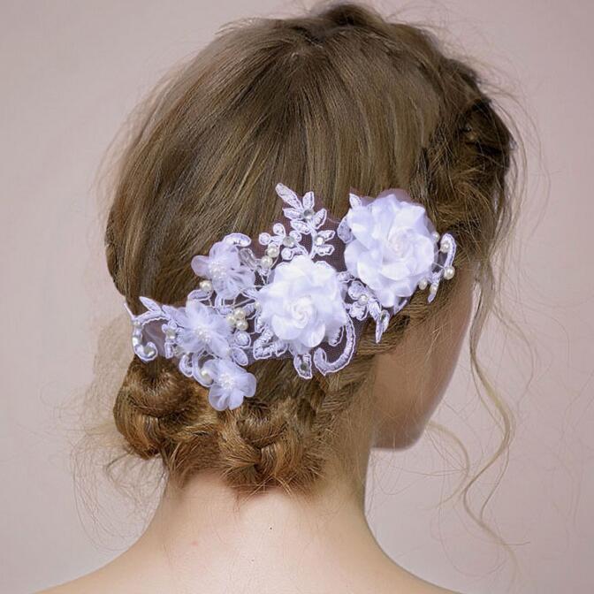 Fashion Lady WEDDING JEWELRY Pure White Flower Hair Decoration