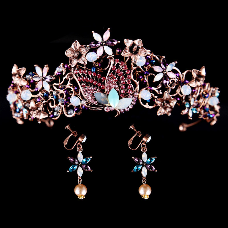 Vintage Colorful Butterfly And Flower Crystal Crown EARRINGS Bridal Tiaras