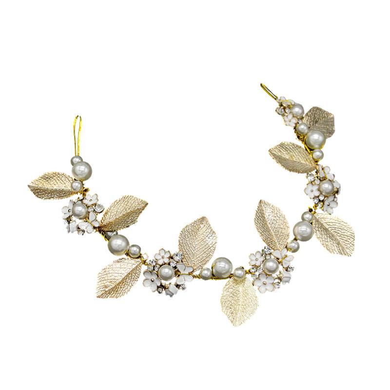 Brides Baroque Golden Leaves Shape Handmade Imitation Pearls Rhinestone Hair JEWELRY