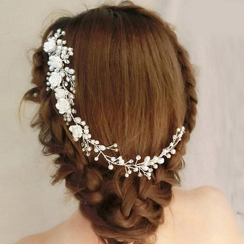 Adjustable Handmade Acrylic Crystal Imitation Pearls Hair JEWELRY With Comb