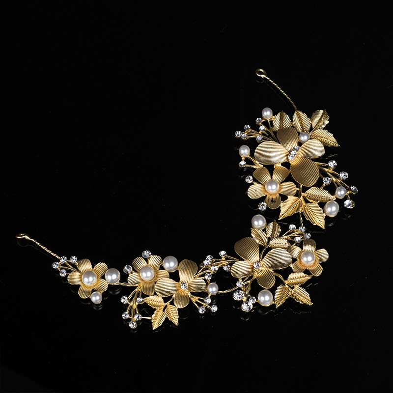Alloy Gold Plated Diamante Flowers And Leaves Design Bride's Hair JEWELRY