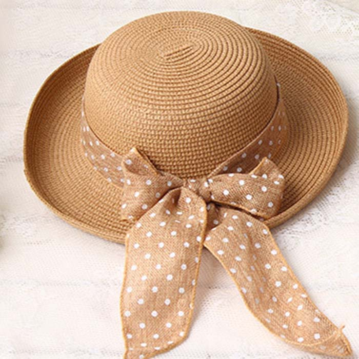 Summer New Women's Black Bowknot Ribbon Flanging STRAW HAT