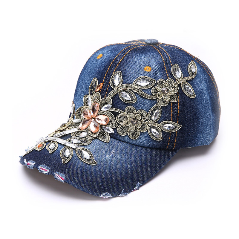a5794fd81583d2 Women Embroidery Flower Style Denim Bling RHINESTONE Adjustable Baseball CAP