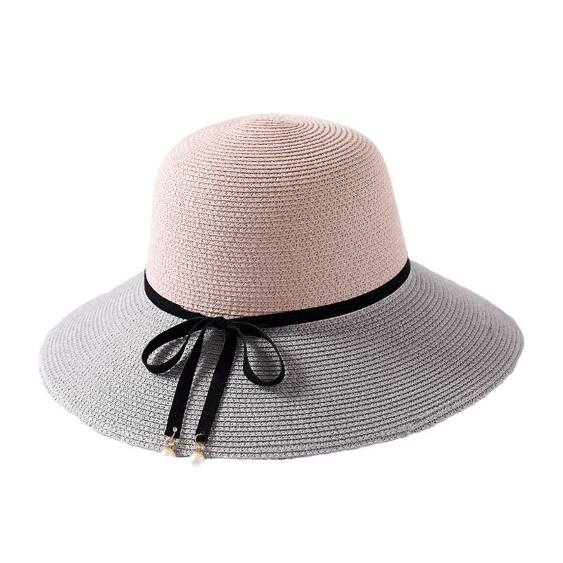 60b38a744d6 Female Blocking Color Lace Up Bowknot Wide Brim Vacation Beach Sun-Protection  Round STRAW HATs