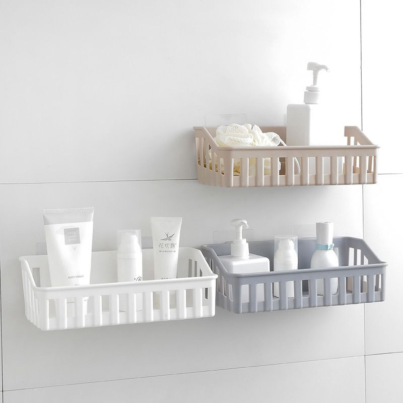 Plastics Solid Color Hollow Storage Toiletries TOWEL Bathroom Kitchen Adhesive Shelf Holder