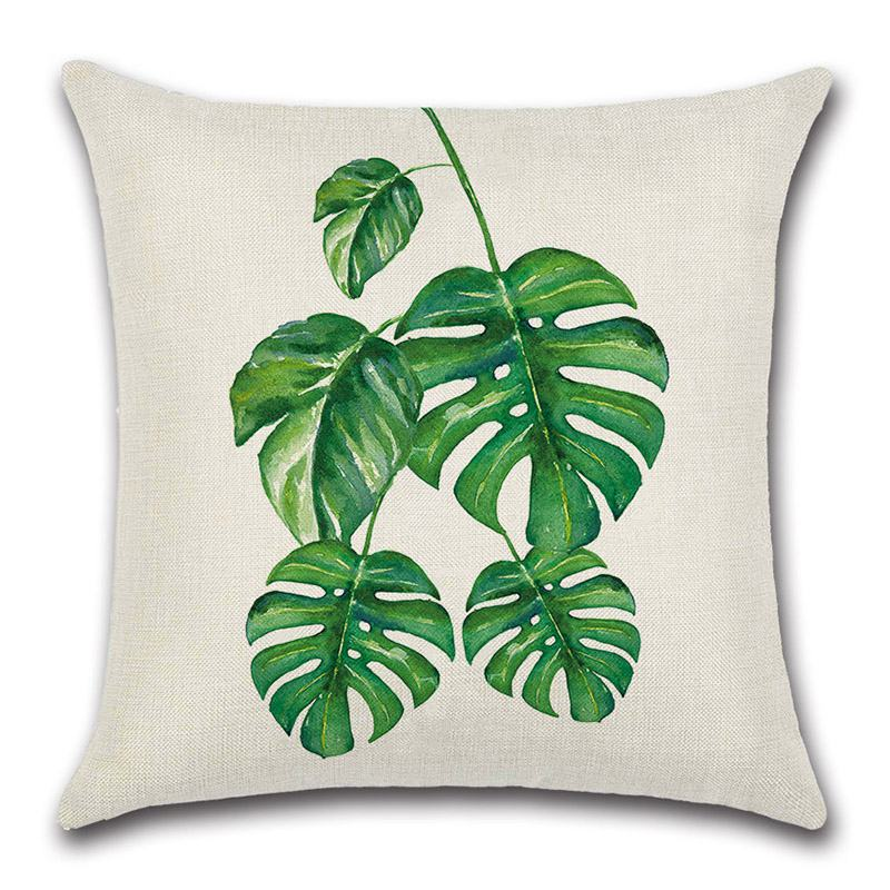 New Arrival  Green Leaf Tropical Plant Theme PILLOW Cushion Cover Without Insert