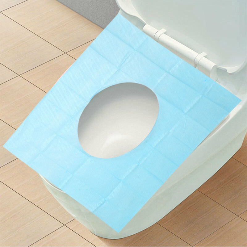 5Pcs Pack Home Bathroom Anti-water Blue Eco-Friendly Disposable TOILET Seat Mat With Hole