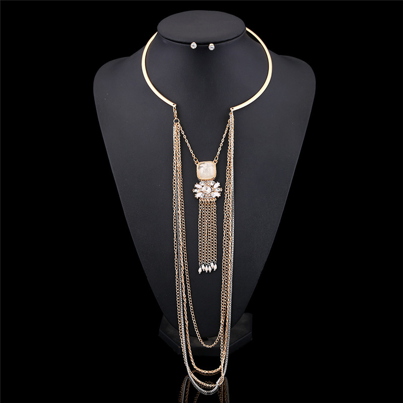 Ethnic Style Exaggerated Multilayer Chain Tassel  Statement JEWELRY Set