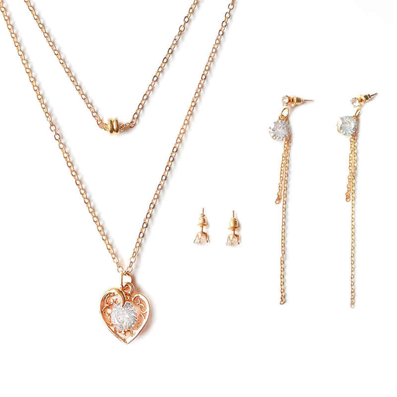Girl Romantic Zircon Decoration Hollow Heart Shape Gold Plated Multilayer JEWELRY Set